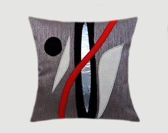 decorative pillow case greysilver throw pillow case with abstract red black