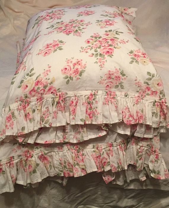 Shabby Chic Woodrose Pillowcases : Charming Shabby Chic cotton pillowcases/ Shsbby Chic