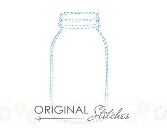 Quick Stitch Mason Glass Jar Machine Embroidery Digital Design File  4x4 5x7 6x10