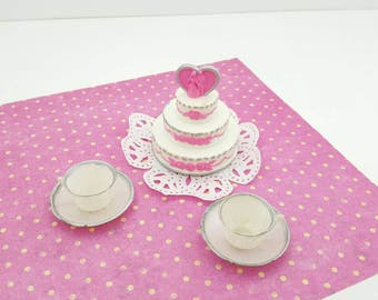 Barbie Wedding Cake and Tea cups Miniature  Doll House Toy Food  white pink silver