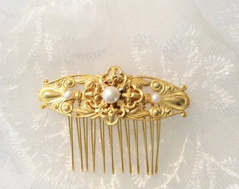 GOLD Art Deco Hair comb Art Nouveau inspired pearl comb wedding comb bridal comb hair accessories wedding accessories bridal accessories