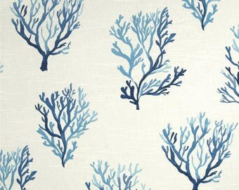 "One  78"" x 72"" Custom Shower Curtain - Lacefield Coral Slub Cobalt Blue"