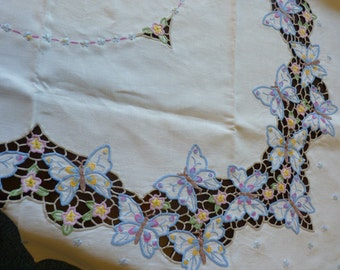 Vintage LINEN Tablecloth Cut Work Butterflies Embroidered SQUARE Cottage Chic