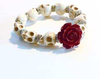 Red Rose and White Day of the Dead Sugar Skull bracelet, Dia de los muertos