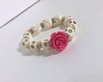 Pink Rose and White Day of the Dead Sugar Skull bracelet, Dia de los muertos