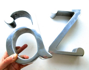 Pair of Large Vintage A and Z Metal Bookends