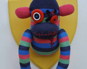 Wall Mounted Zombie Sock Monkey