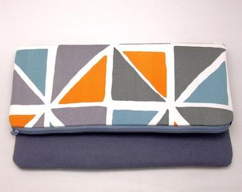 Foldover zipper clutch, zipper pouch, wedding purse, evening clutch, bridesmaid gifts set - Geometric pattern (Ref. FZ21)