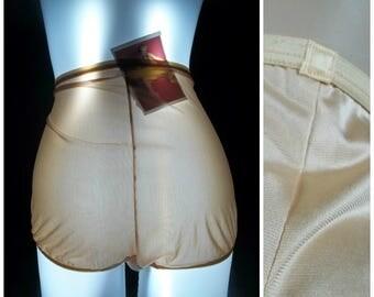 vintage olga panties briefs silky nylon shiny nude beige fashion scoop satin full coverage granny panty 7 lge 70s pinup lingerie pillowtab