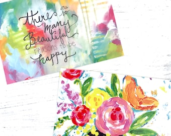 """Inspirational Art Postcards (4x6 inches) pack of two mini prints """"Reasons to be Happy"""" and """"Sunshine Floral"""" / Colorful Postcards"""