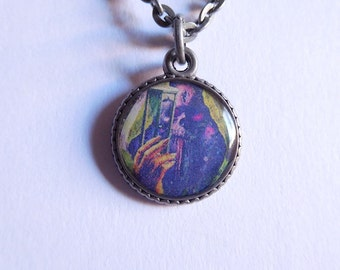 Skull and hourglass colorful small resin pendant necklace; crypt keeper necklace; death necklace; halloween; skull necklace