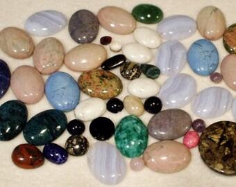 60 Genuine Gemstone Cabochons Assorted Sizes