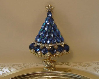 Mid Century Sapphires - Pearls and Diamonds Holiday Christmas Tree Brooch