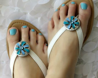 Blue and Silver Flower Flip Flop Wrap Clips, Flexible Removable Versatile Shoe Clips, Sandal Clips, Scarf Accessory, Boot Strap Accessory
