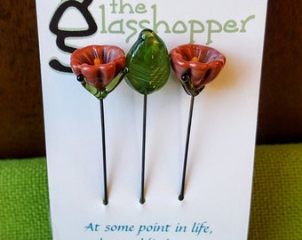 Lampwork Glass Flower Counting Pins/Stitch Markers/Fairy Garden Flowers - Rusty Rose