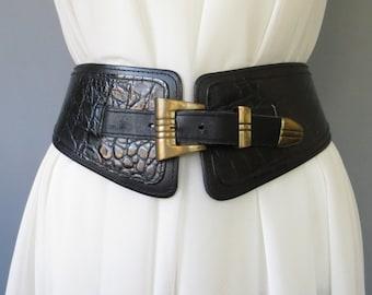 Vintage Leather Belt Black Hips Belt Cinch Belt Wide Belt with Brass Buckle Genuine Lether Vintage Women Belt Black Vintage Belt Waist Belt