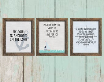 8x10 Nautical Themed Scripture Printables - Set of 3 | Nursery Decor - INSTANT DOWNLOAD
