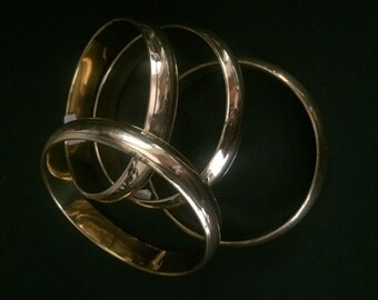 "Vintage BRASS BANGLES - Set of Three (3) - 1970s - New Old Stock - 1/2"" Wide - INDIA - Gypsy - Boho"