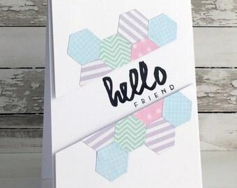 Pastel Hexagon Hello Card