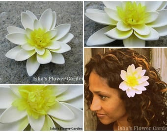 White Lotus, Water Lily Flower barrette, lotus barrette, lotus hair clip