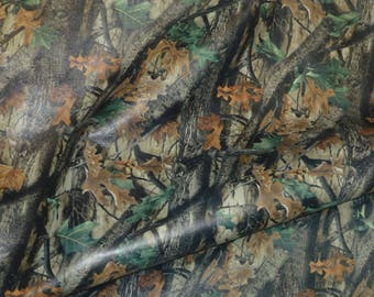"RESTOCKED Leather 12""x12"" CAMO Hunter Woodland on GRAY Cowhide  2.75 oz / 1.1 mm PeggySueAlso™ E5450-03"