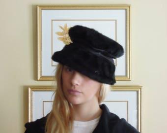 Vintage Black Faux Fur Hat with Satin Ribbon