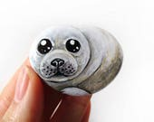 Baby Seal Art, Baby Animal Lover Gift, Cute Seal Pup, Paperweight, Paper Weight, Handpainted Rock Art, White Seal, Decorative Stone