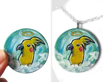 Cockatiel Necklace, Yellow Bird Jewelry, Keepsake Gift for Her, Pet Memorial Angel, Hand Painted Wood Art, Pet Loss, Turquoise Pendant