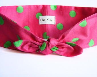 Pink headband with green polka dots - Watermelon Headband - Cotton Bow Headband
