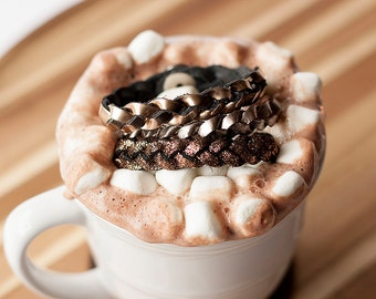 Braided Leather Bracelet Trio / Hot Cocoa