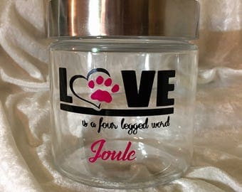 Personalized Doggy/Kitty/Furry Friend Clear Glass Treat Jar with Brushed Metal Lid