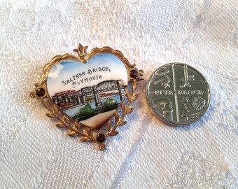 Vintage Enamel Brooch, Saltash Bridge, Plymouth, England. Also Known As Royal Albert Bridge.