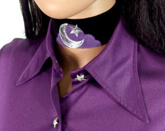 HUZZAR DESIGN 70s Style Beautiful Moon, Star And Cloud Suede Choker Made to order