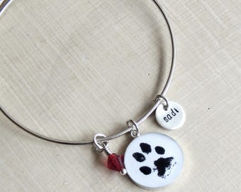 Custom Paw Print Bracelet - ACTUAL PAW PRINT - Custom Bangle - Pet Charm - Dog Paw Print - Cat Paw Print - Pet Memorial -HandStamped Pendant