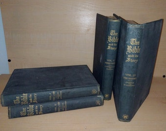 Antique Bible Book Series 1919 Edwardian Illustrated Four Volumes Vintage Theology