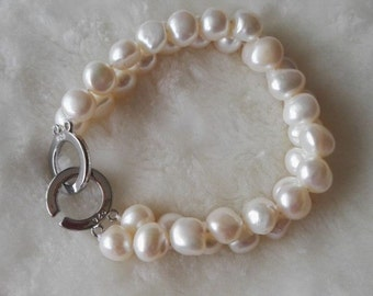 free shipping-  baroque pearl bracelet, white pearl bracelet, double rows pearl bracelet, 10-11mm pearl