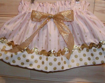 Girls skirt, Infant, toddler, Custom..Light Coral Gold Arrows N Gold Dots..sizes newborn  to 10 girls