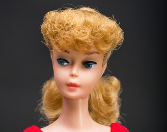 Vintage Barbie Blonde Ponytail 1960s - Original Top Knot & Unretouched
