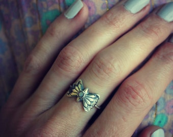 Sterling silver butterfly concho ring, opal ring, stacking ring, rope ring, midi ring, stackable ring