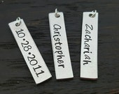 "1"" Rectangle Tag Hand Stamped Charm, Add on Charm by Miss Ashley Jewelry"