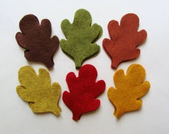 Fall Leaves, 4 Inch, Wool Felt Blend Die Cuts, Set of 18 Pieces from Woolhearts