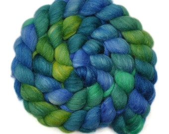 Handpainted roving - Silk / Polwarth 15/85% wool roving - 4.1 ounces - The Music of Nature