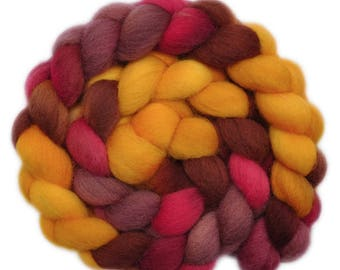 Hand Dyed roving - Cheviot wool spinning fiber - 4.1 ounces - A Day's Ride 1