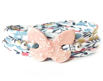 Pink butterfly bracelet with textured clay charm, girls birthday gift idea, modern statement bracelet, unique jewellery for women