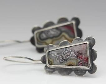 Crazy Lace Agate Earrings, Agate & Sterling Earrings, Artisan Earrings, Le Chien Noir, Mother's Day