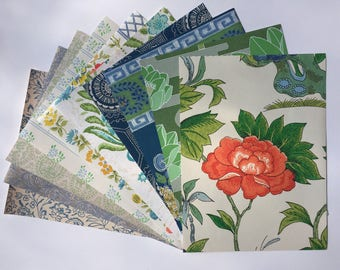 """1960s Vintage wallpaper sample pack- flowers and birds (10 sheets, 8.5x11.5"""")"""