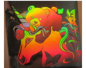 SALE Very Rare Vintage Hologram Sandylion Unicorn and Bear with Butterflies Sticker 80s Retro Holographic