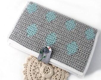 SALE Fabric Wallet - Minimalist Wallet - Polka Dot Wallet - Wallet - Travel Wallet - Women's Wallet - Vegan Wallet - Crochet Wallet