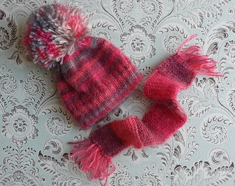 Greys and Pinks Pom Pom Blythe Mohair Hat and Scarf Set