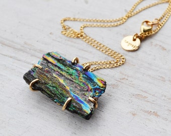 Raw Rainbow Hematite Necklace, Colorful Metallic 14K Gold Prong Set Gemstone Necklace, Gold Necklace, Natural Turgite Necklace